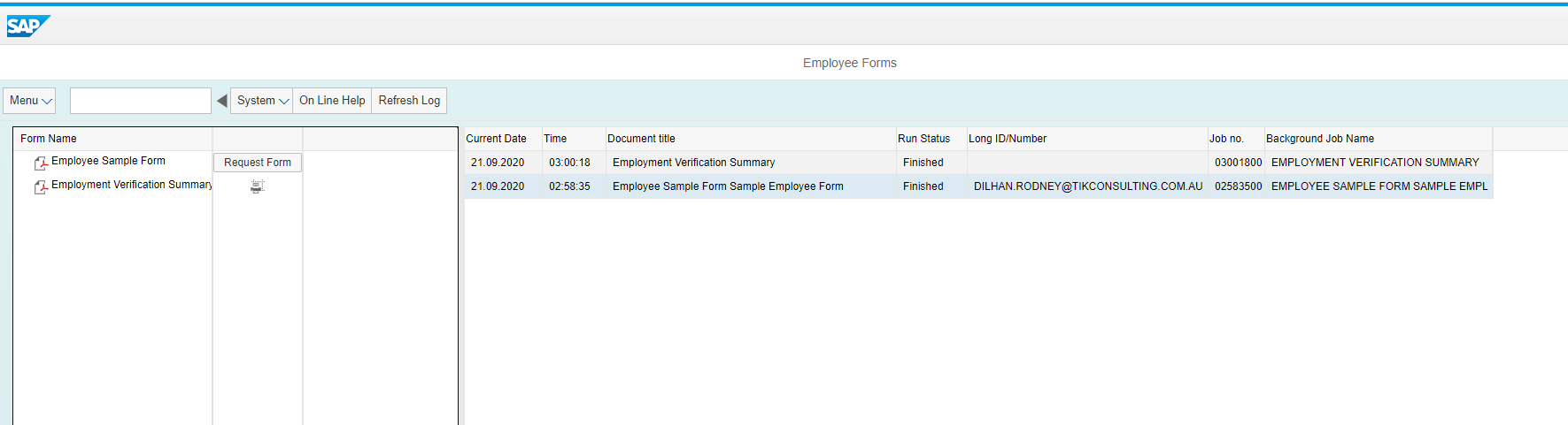 Employee Forms Landing Page